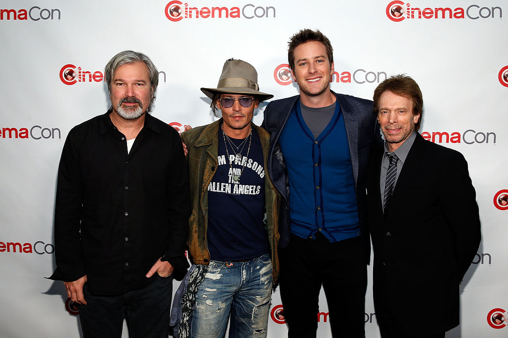 Johnny Depp and Armie Hammer joined director Gore Verbinski and producer Jerry Bruckheimer on the red carpet.