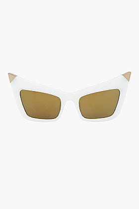 ALEXANDER WANG White and gold pointed extreme Cat's eye Sunglasses