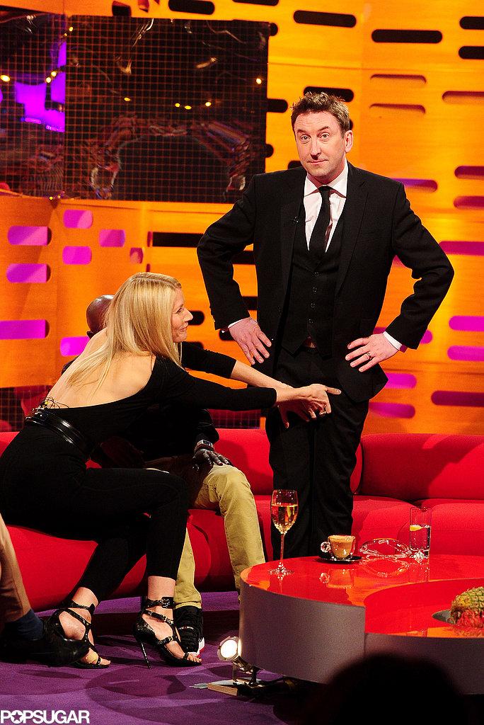 Gwyneth Paltrow and Mo Farah grabbed Lee Mack's crotch.