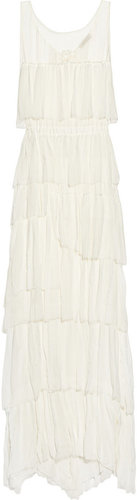 Nina Ricci Tiered crinkled silk-chiffon gown