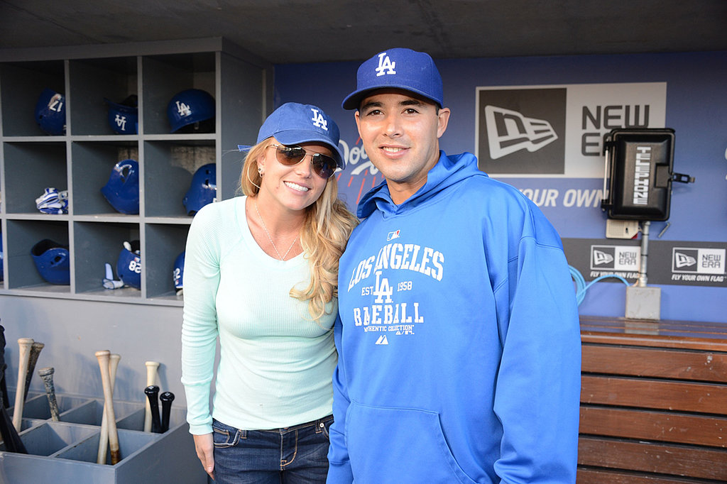 Britney Spears posed with outfielder Andre Ethier.