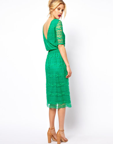 ASOS Midi Dress In Lace With Wrap Back