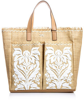 Anya Hindmarch Nevis embroidered straw bag