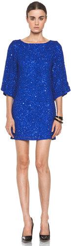 Alice + Olivia Lari Bell Sleeve Sequin Tunic Dress in Cobalt