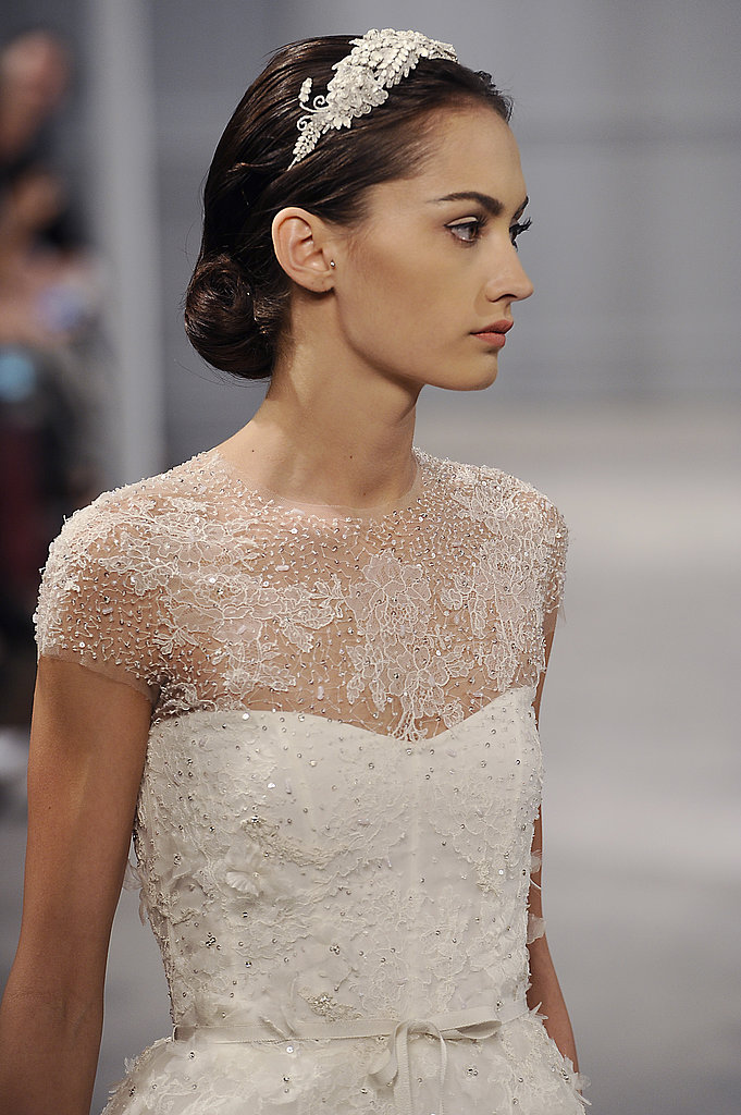As a part of the finished look a few models wore jeweled headbands as opposed to the classic veil.