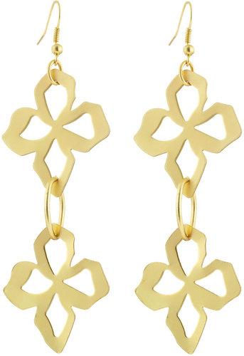 Greenbeads Double-Flower Earrings, Golden