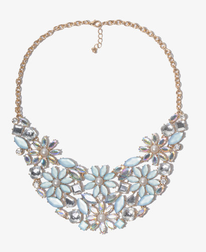 FOREVER 21 Bejeweled Flower Bib Necklace