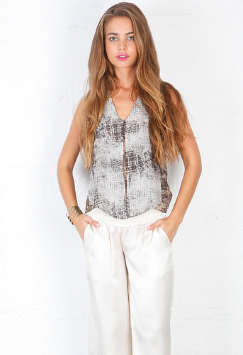 Vania Silk Top with Front Panels in Serpant Croc - by Alexis