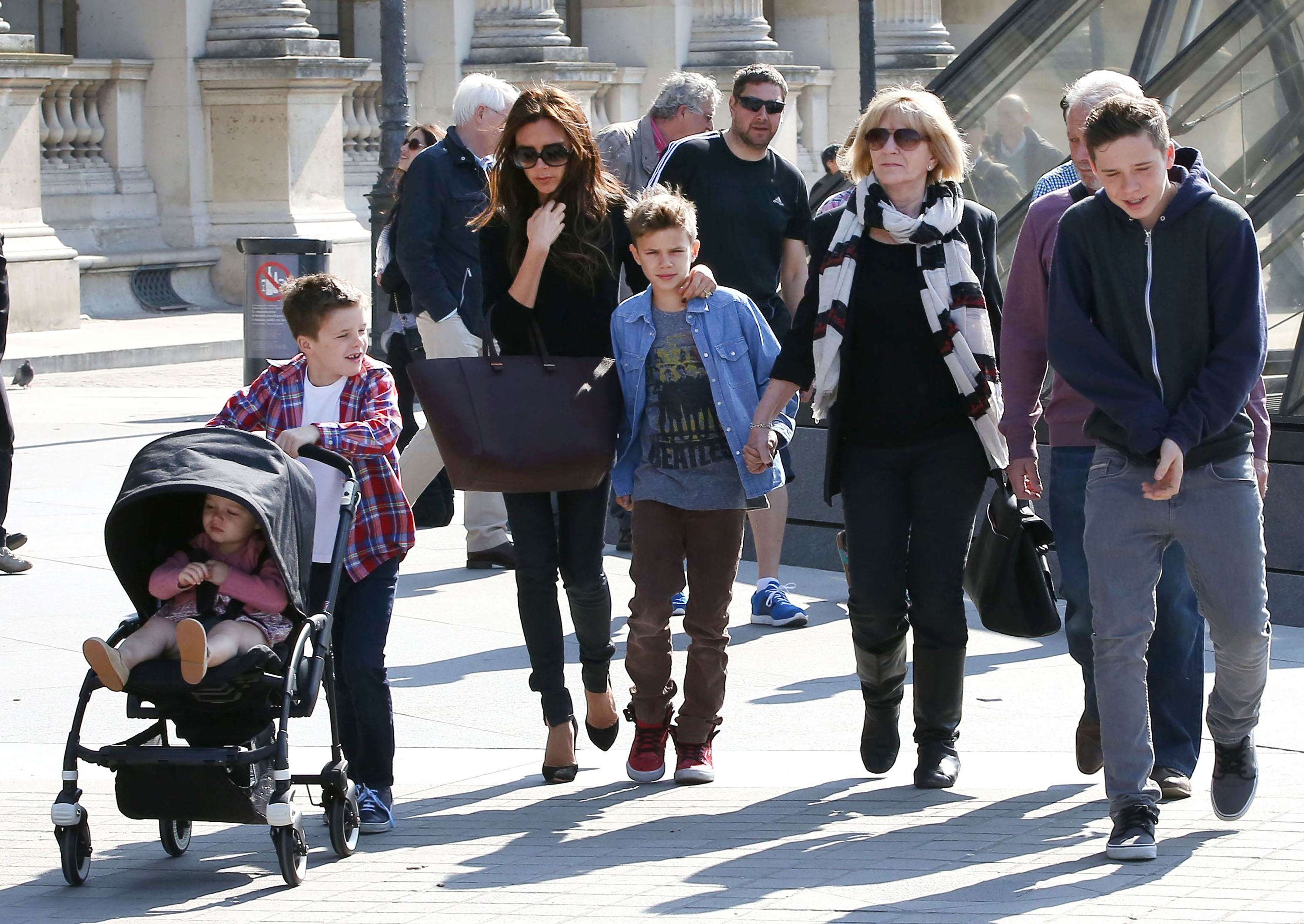Victoria Beckham took her family to the Louvre on Sunday.
