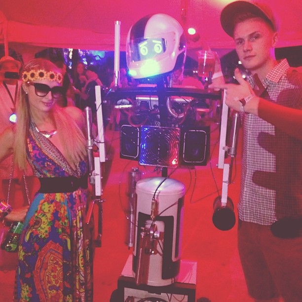 Paris Hilton and her brother Barron hung out with a Coachella robot. Source: Instagram user parishilton