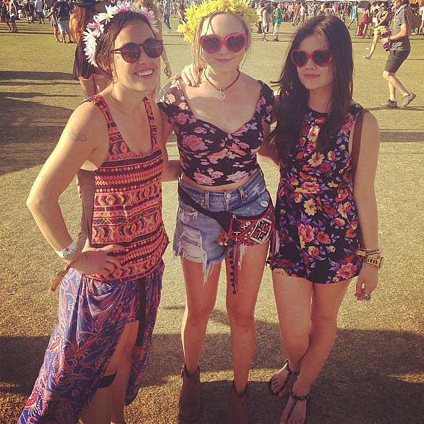 Lucy Hale and a group of female friends dressed up in floral prints and sunglasses. Source: Instagram user lucyhale89