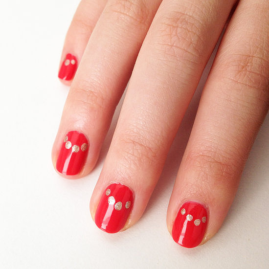 Creating the perfect moon manicure requires precision and skill, but this polka-dot version is a lot easier to do and a fun take on a classic.
