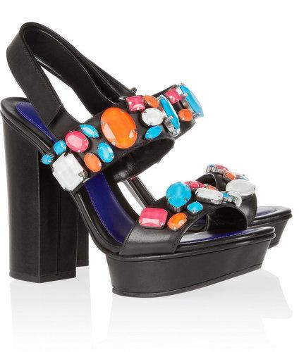 KENZO Crystal-embellished leather sandals