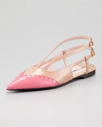 Miu Miu Double-Buckle Bicolor Ballerina Flat, Pink/Nude