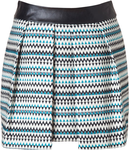 Milly Teal/Black/White Zigzag Pleated Skirt with Leather Waist