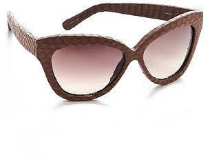 Linda farrow luxe Snakeskin Curved Square Sunglasses
