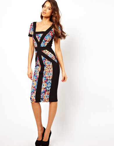 Hybrid Midi Dress with Printed Panel