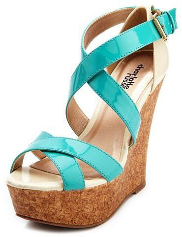 Patent Color Block Wedge Sandal