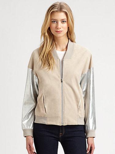 L'AGENCE Mixed-Media Leather Varsity Jacket