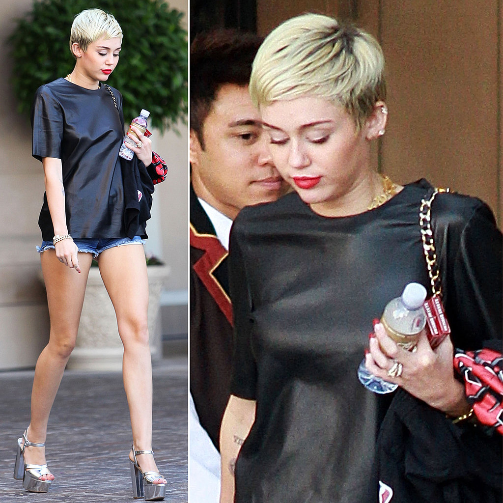 Miley Cyrus Wearing Her Ring in LAMiley Cyrus Haircut Back