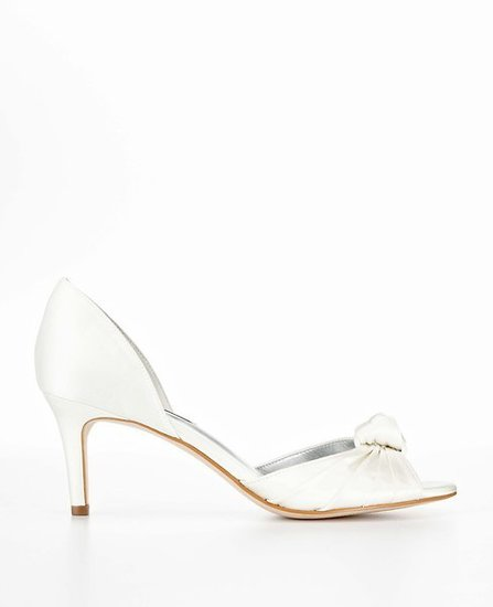 Pleated Knot Satin Kitten Heel Sandals