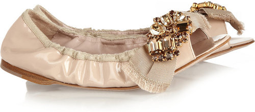 Miu Miu Embellished patent-leather ballet flats