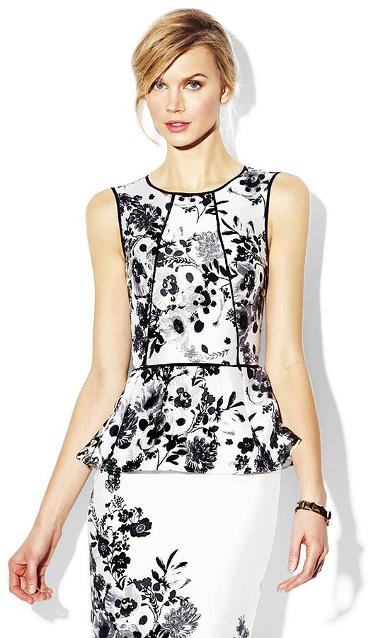 The piping helps to create an ultraflattering silhouette on this Vince Camuto Peplum Garden Blouse ($99) — and the black and white print happens to be perfectly on-trend.