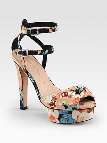 Loeffler Randall Dahlia Floral-Print Silk Platform Sandals