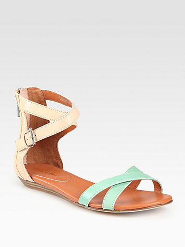 Rebecca Minkoff Bettina Bicolor Leather Ankle Strap Sandals