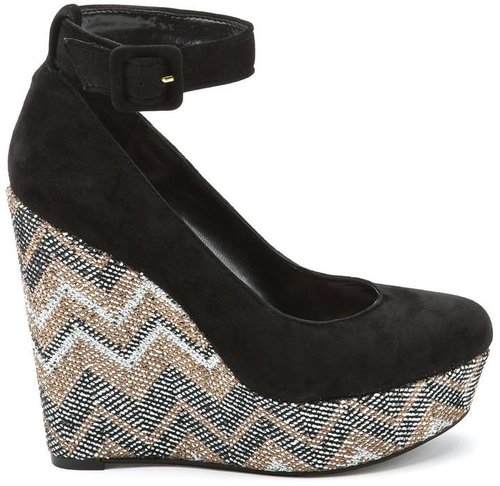 Carly Black Kidsuede Wedges