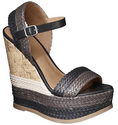 Women's Mossimo® Pemella Demi Wedge with Patterned Bottom - Black/White
