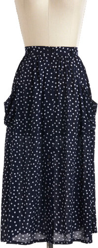 Just Dandy Skirt in Navy Dots