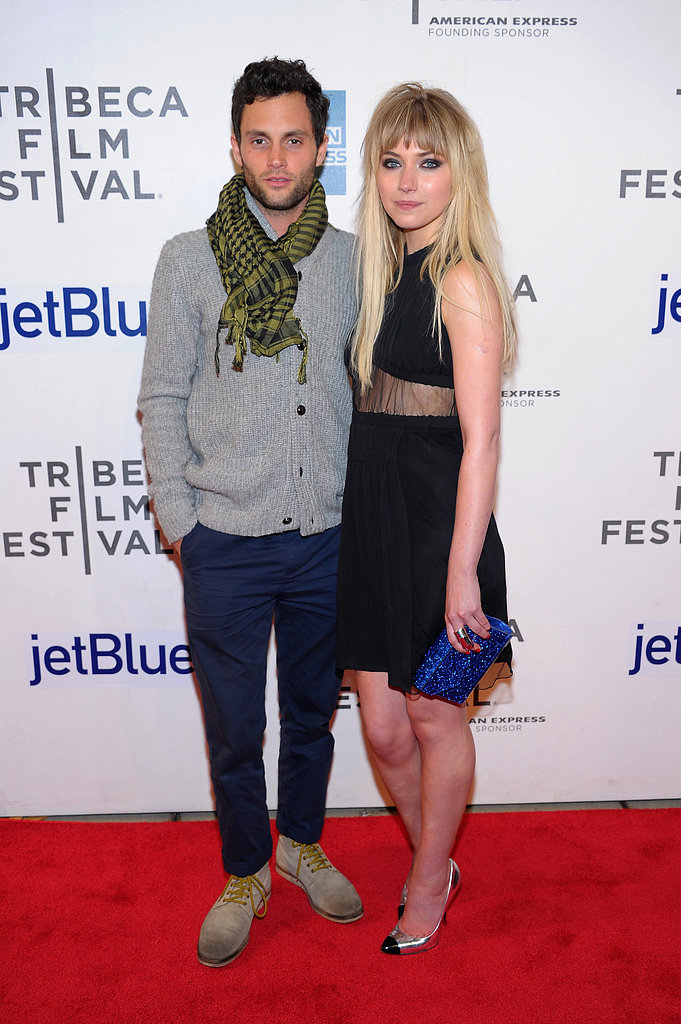 Penn Badgley posed on the red carpet with co-star Imogen Poots at the Tribeca Film Festival premiere of Greetings From Tim Buckley.