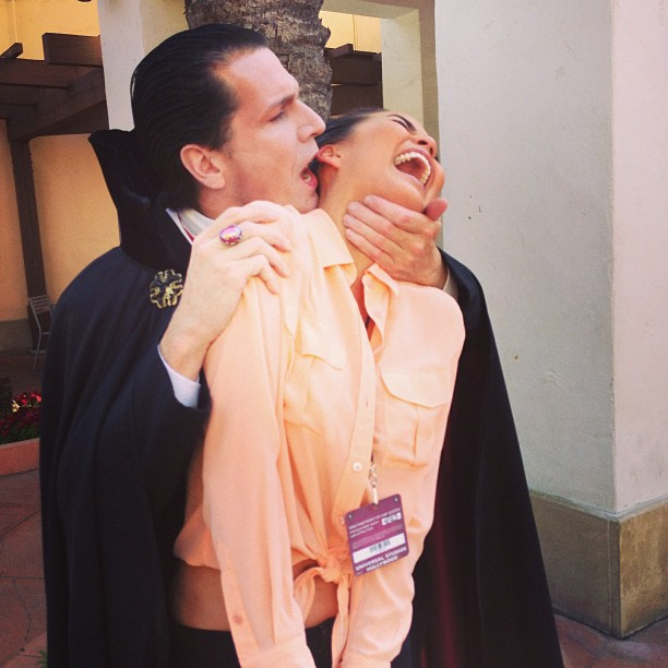 Chrissy Teigen got the vampire treatment during a day at Universal Studios. Source: Instagram user chrissy_teigen