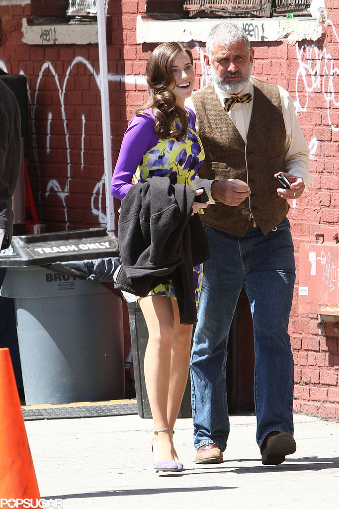 Allison Williams grabbed a beverage on the set of Girls in NYC.