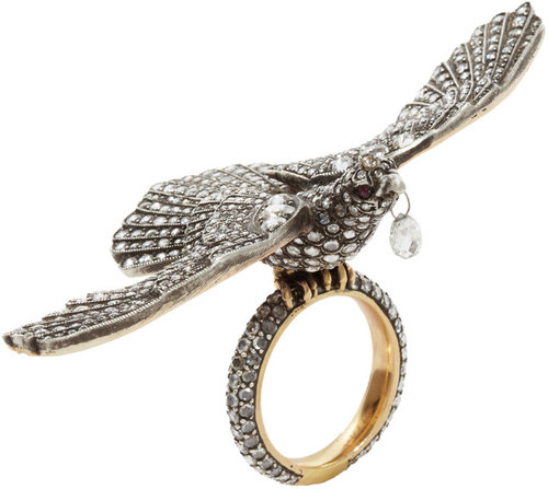 Munnu Diamond & Ruby Bird Ring