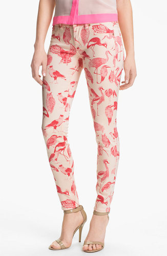 Ted Baker London Print Stretch Skinny Jeans (Natural)