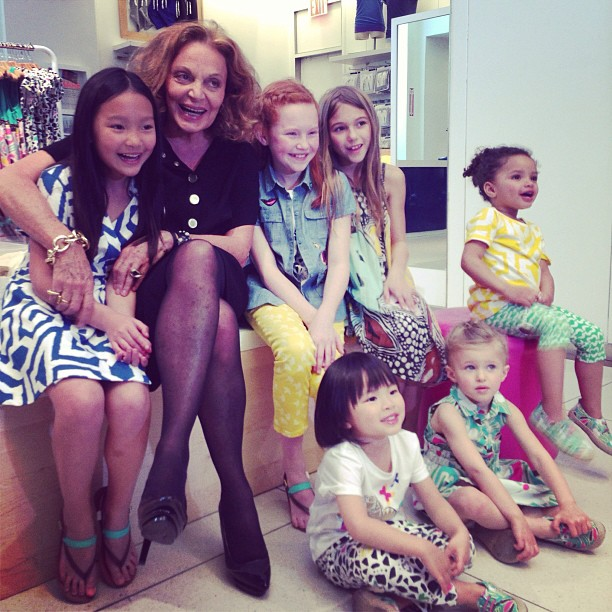 Diane von Furstenberg posed for adorable photos with little girls to promote her DVF Loves Gap collection. Source: Instagram user gap