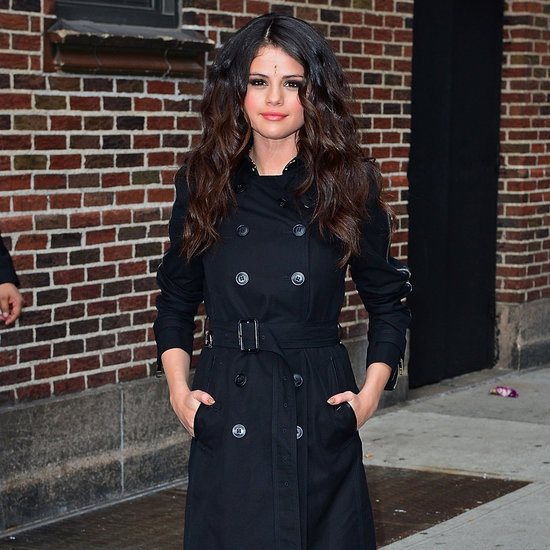 Selena Gomez Style: Black Burberry Trench, Cut-Out Boots