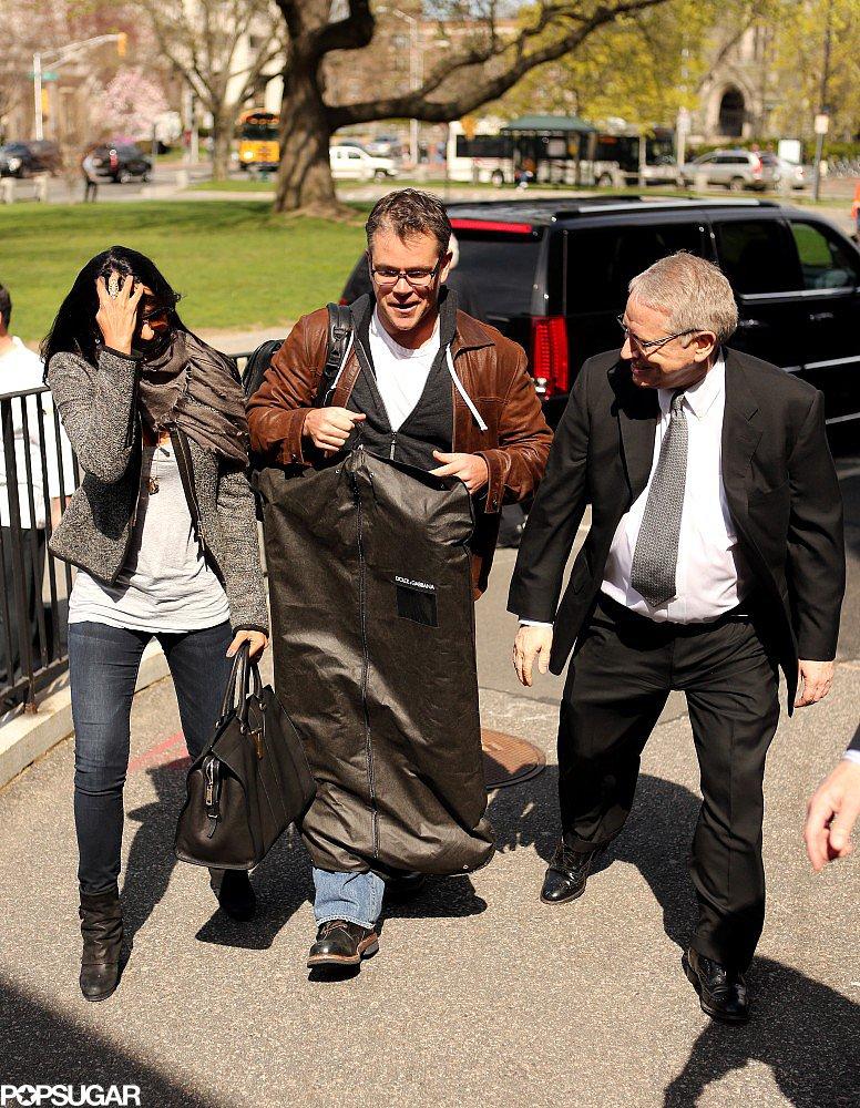 Matt and Luciana Damon made their way into a Harvard University theater on Thursday.