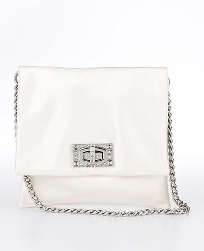 Pave Turnlock Satin Clutch