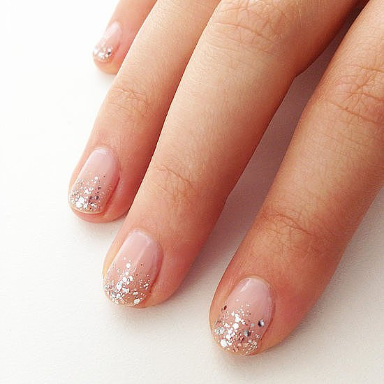 Of all our DIY nail tutorials, this glittery bridal design was the favorite among our followers.