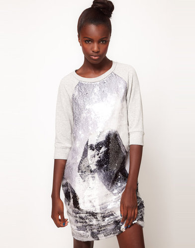 Lulu & Co Lulu and Co Studio Sequin Sphynx Sweatshirt Dress