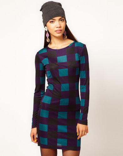 Danielle Scutt Long Sleeve Silk Jersey Dress in Check Print