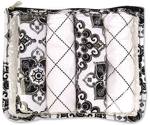 Trend Lab Versailles Zipper Pouch and 4 Burp Cloths Gift Set - Black and White