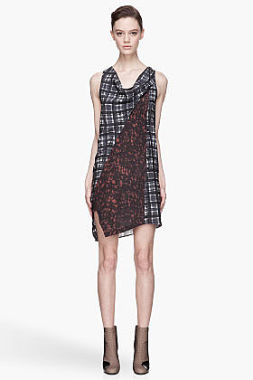 3.1 PHILLIP LIM Blue plaid and speckled Twisted Placket dress