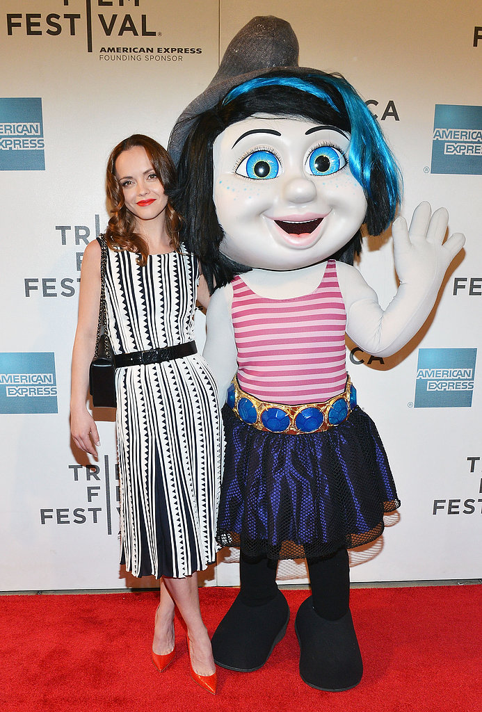 Christina Ricci posed with a character from The Smurfs at the film's Tribeca Film Festival screening.