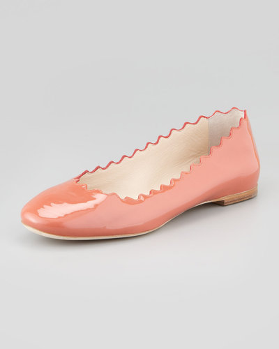 Chloe Scalloped Patent Leather Ballerina Flat, Salmon
