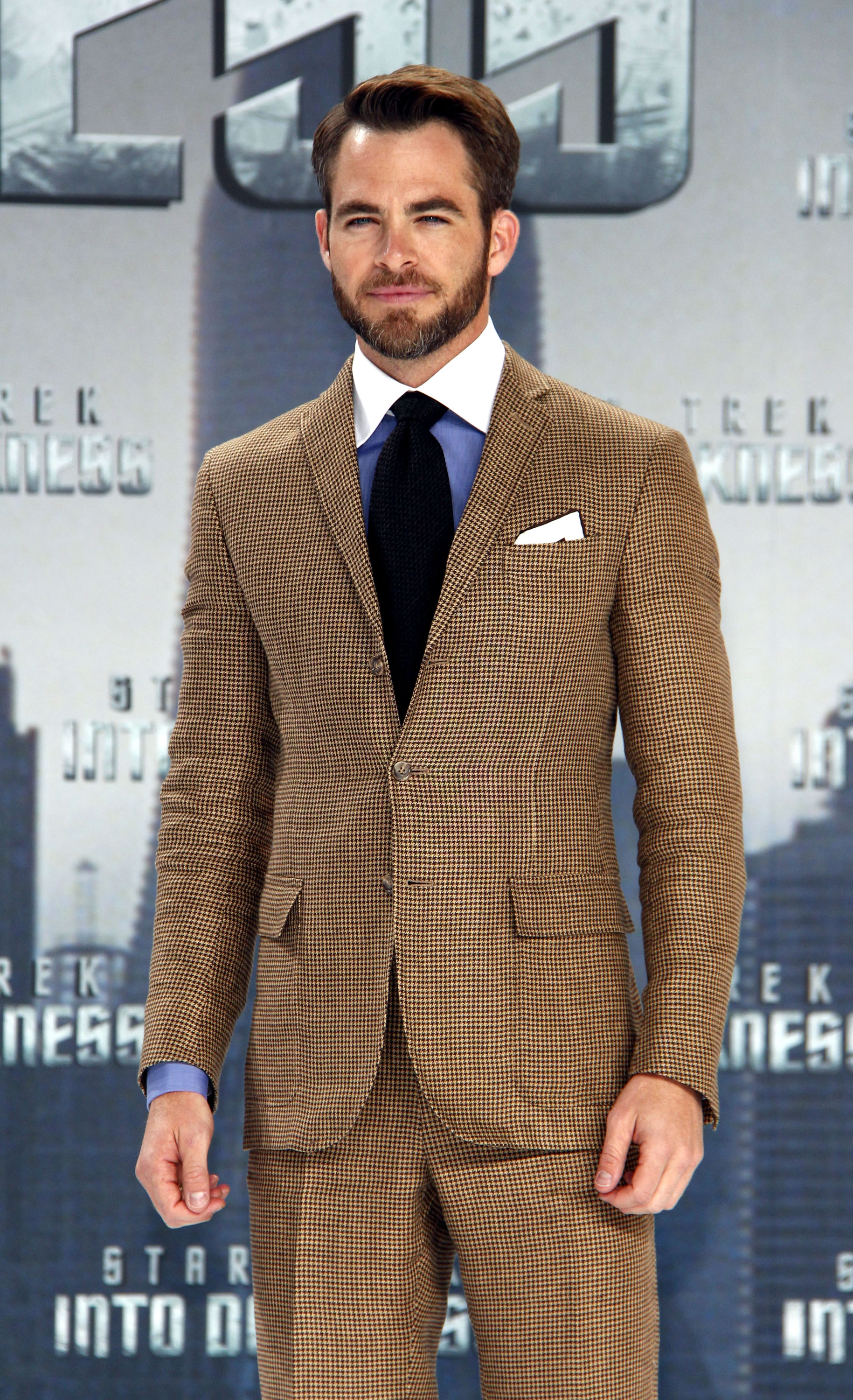 Chris Pine posed solo on the red carpet at the German premiere of Star Trek Into the Darkness.