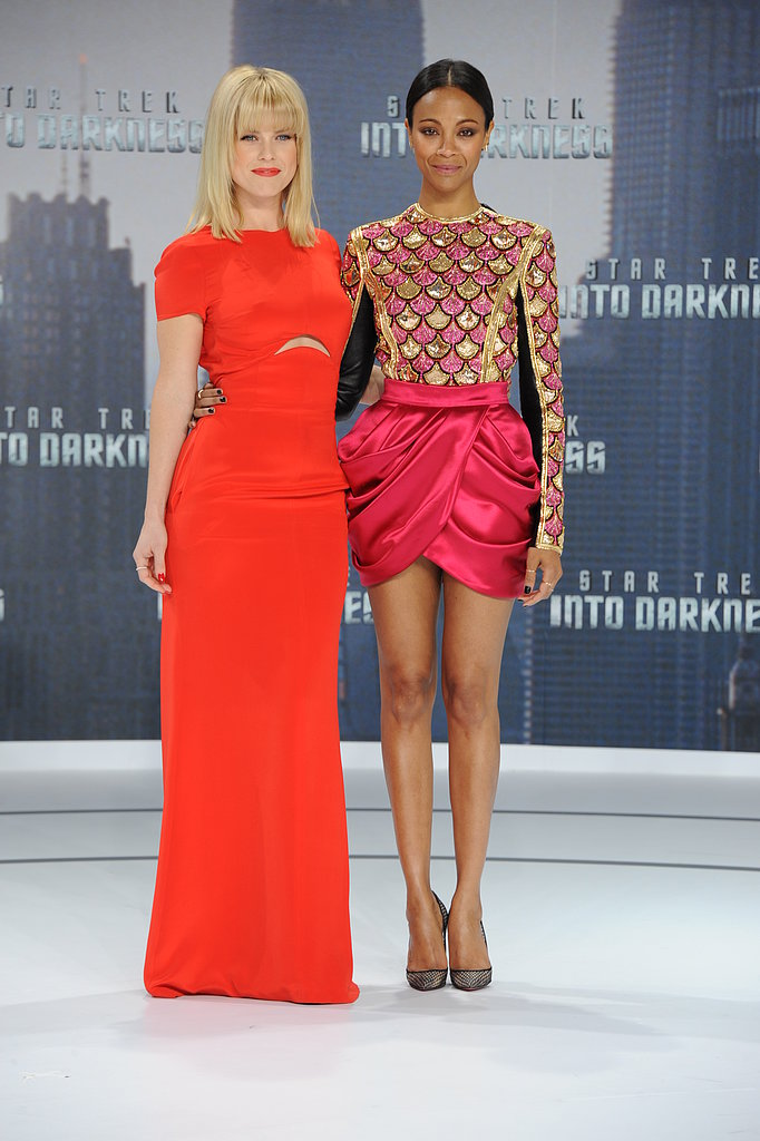 Alice Eve and Zoe Saldana posed at the German premiere of Star Trek Into the Darkness.